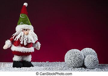 Una postal de Santa Claus en rojo