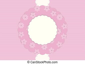 Una postal en un fondo plano rosado con una cinta de encaje blanca verticalmente en el medio y una servilleta floral con flores y collares de perlas, composición de recortes de vectores.
