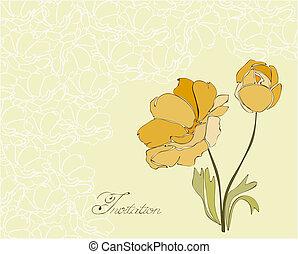 Una postal floral en vector