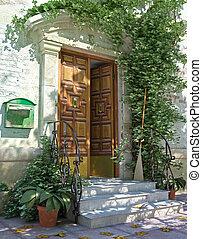 Una puerta clásica con escaleras.