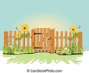 Una puerta de madera y una cerca con verde