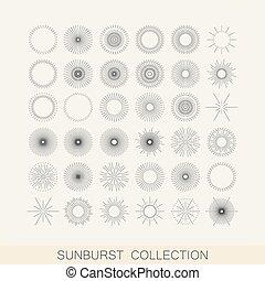 Una puesta de sol geométrica y formas de rayos de luz. Diseño El