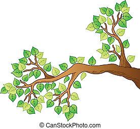 Una rama de árbol de cartón con hojas 1