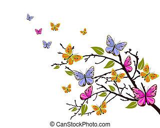 Una rama de mariposa