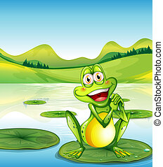 Una rana sonriente en el estanque
