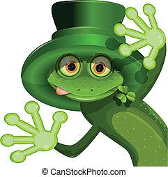 Una rana verde con un sombrero de San Patricio