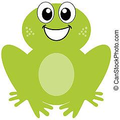 Una rana verde sonriente