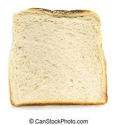 Una rebanada de pan blanco aislada de primera vista
