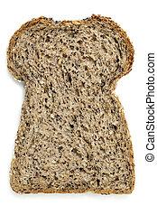 Una rebanada de pan sembrado aislado en blanco