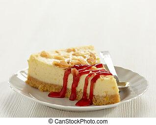 Una rebanada de pastel de queso