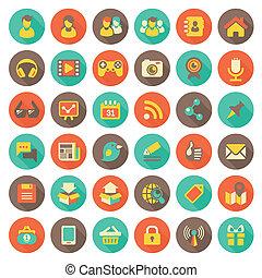 Una red social de iconos redondas