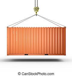 Una representación 3D de un gancho de grúa con un contenedor de carga