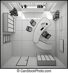 Una representación interior 3D de una oficina moderna