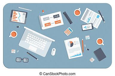 Una reunión de negocios con ilustraciones planas