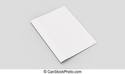 Una revista en blanco o una maqueta de folletos aisladas en un fondo gris suave. Ilustración 3D.