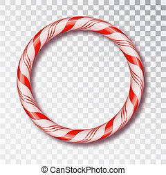 Una ronda de caramelos de Navidad aislada. Diseño de Navidad en blanco y negro, un marco de cuerda de color rojo y blanco. Año nuevo 2019. Diseño de vacaciones, decoración. Ilustración de vectores.