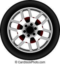 Una rueda de aleación de autos realistas vectora aislada