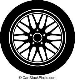 Una rueda de aluminio Vector, símbolo blanco negro