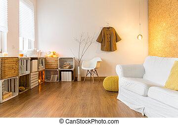 Una sala acogedora y espaciosa para descansar en un día frío