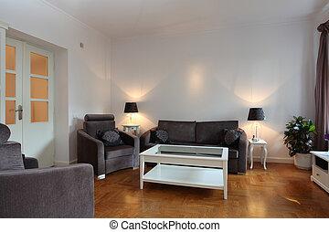 Una sala de estar espaciosa