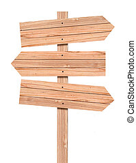 Una señal de dirección de Wooden en blanco, incluida la trayectoria de cortar