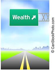 Una señal de la calle Wealth