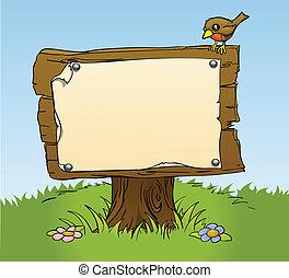 Una señal de madera rústica