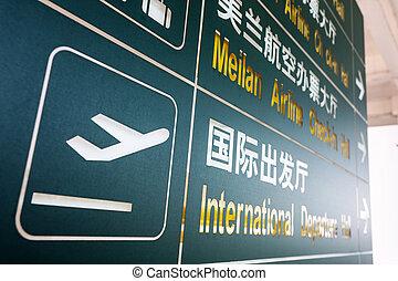 Una señal en el aeropuerto