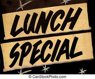 Una señal especial de almuerzo grungy