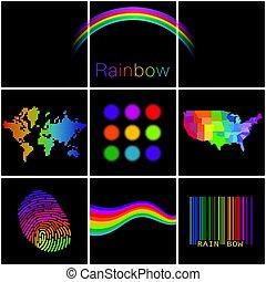 Una selección diversa colorida de arco iris creativos