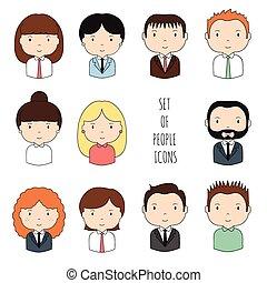 Una serie de íconos coloridos de oficina. Hombre de negocios. Mujer de negocios. Divertido dibujo animado dibujando caras para tu diseño. Colección de lindo avatar. Trendy doodle estilo. Ilustración de vectores.