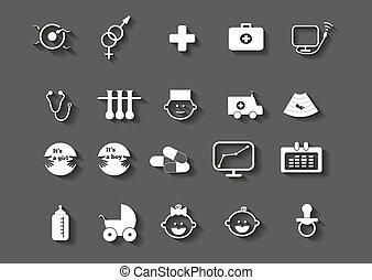 Una serie de íconos de embarazo de la mujer de la salud