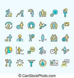 Una serie de íconos de negocios en color