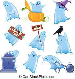 Una serie de 9 fantasmas felices en varias situaciones