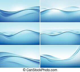 Una serie de antecedentes abstractos de ondas azules