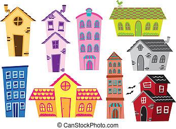 Una serie de caricaturas y edificios