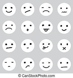Una serie de caritas de dibujos animados en varias expresiones