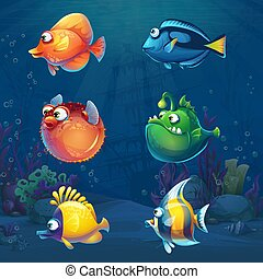 Una serie de dibujos animados de peces graciosos en el mundo submarino