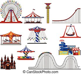 Una serie de dibujos animados del parque de atracciones