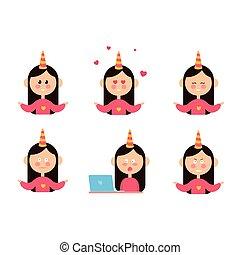 Una serie de divertidos personajes femeninos expresando varias emociones aisladas en ilustraciones de vectores blancos de fondo