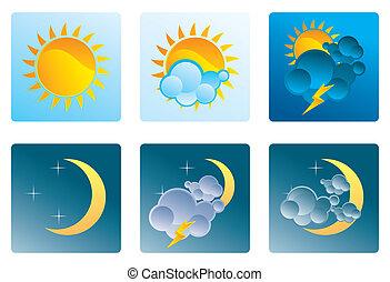 Una serie de iconos del clima día y noche
