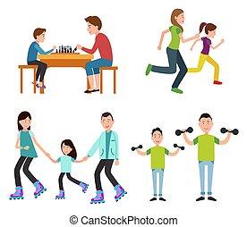Una serie de imágenes familiares de color ilustración vectorial