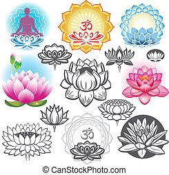 Una serie de lotos y símbolos esotéricos