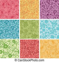 Una serie de nueve flores coloridas, patrones de fondo