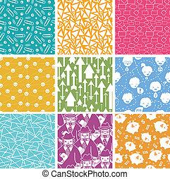 Una serie de nueve patrones sin sentido