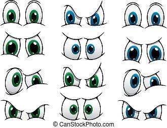 Una serie de ojos de dibujos animados mostrando varias expresiones