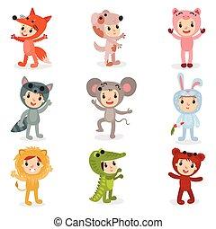 Una serie de personajes de dibujos animados con disfraces de animales de zorro, cachorro, cerdo, mapache, ratón, conejo, león, cocodrilo y oso. Diseño de vectores planos aislado