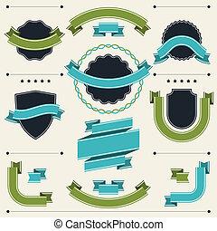 Una serie de placas, etiquetas, cintas y elementos de diseño.