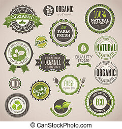 Una serie de placas orgánicas y etiquetas