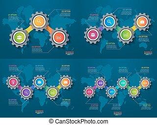 Una serie de plantillas con engranajes y mapas del mundo. El concepto de negocios y industria con opciones, partes, pasos, procesos.